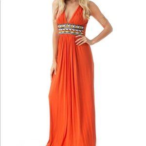 Sky Orange Maxi Dress